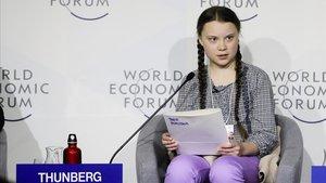 Greta Thunberg, en el Foro Económico Mundial de Davos (Suiza), el pasado enero.