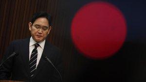 Lee Jae-yong, presidente de Samsung, en una comparecencia pública en Seul.