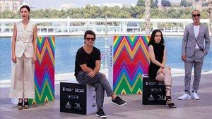 Ruth Díaz, Achero Mañas, Gala Aymach y Ernesto Alterio en la presentación de 'Un mundo normal' en el Festival de Cine de Málaga.