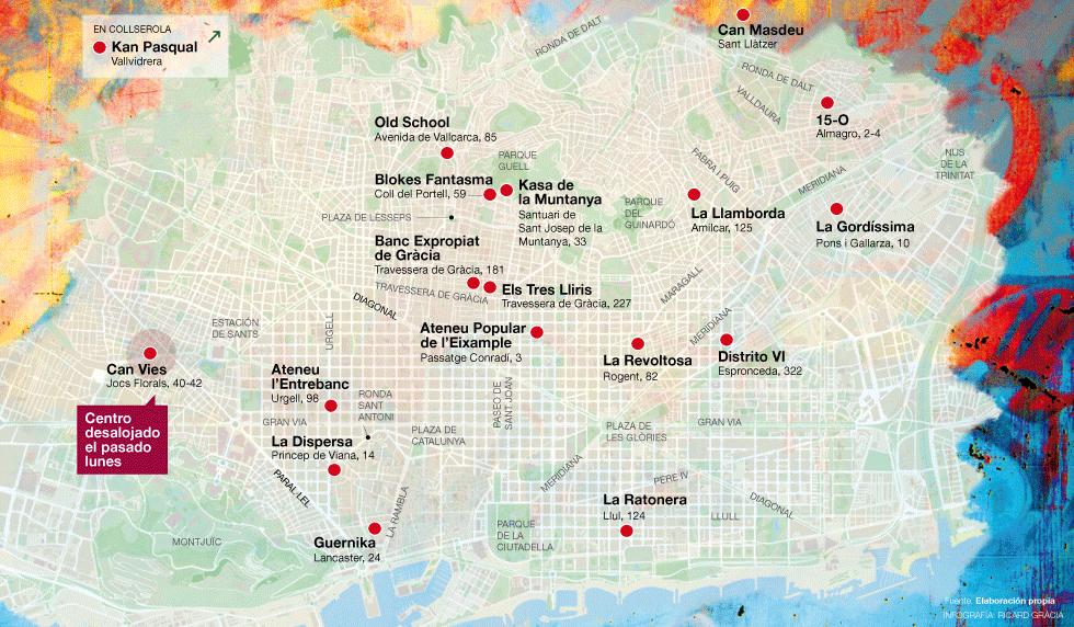 El Mapa De Los Centros Sociales Okupados En Bcn Barcelona El