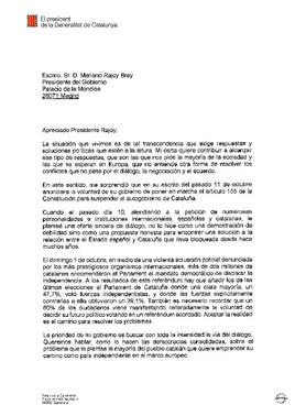 Carta de respuesta de Puigdemont al requerimiento de Rajoy