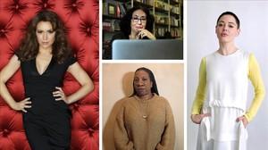 Alissa Milano, Lidia Falcón, Tarana Burke i Rose McGowan