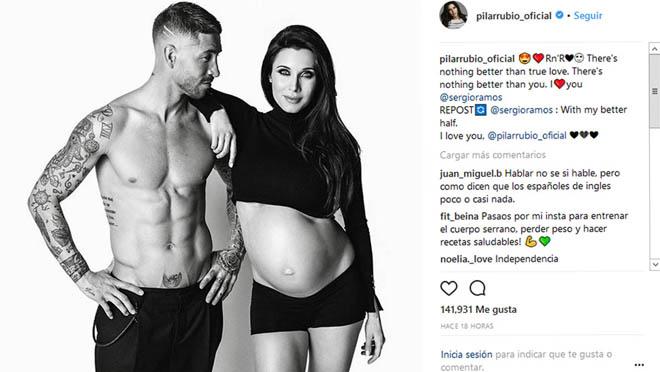 Pilar Rubio y Sergio Ramos comparten el embarazo de su tercer hijo en las redes