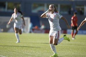 MONTEVIDEOURUGUAY-La jugadora de Espana Claudia Pina celebra un gol luego de anotardurante un partido del Mundial Sub 17 femenino entre Espana y Corea del Sur.EFE Aitor Pereira