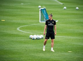 El jugador del Madrid Gareth Bale durante un entrenamiento de pretemporada con el equipo de Zidane.