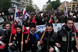 Manifestación en Atenas contra la reforma laboral.