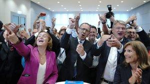 La AfD celebra los resultados obtenido en Sajonia este domingo.