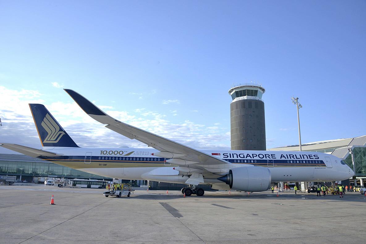 El avión A350 de Singapore Airlines en Barcelona.