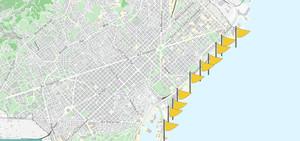 Bandera amarilla en las playas de Barcelona, este domingo a mediodía.