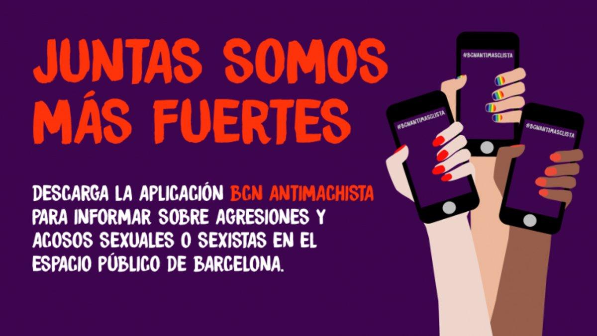 Imagen publicitaria de la 'app' BCN Antimachista.