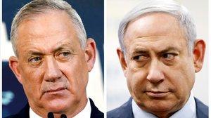 Benny Gantz, a la izquierda, y Binyamin Netanyahu.