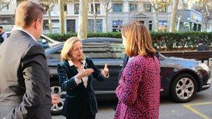 Nadia Calviño a su llegada a laOficina de Transformación Digital de Barcelona.