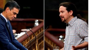 Combo de Pedro Sánchez y Pablo Iglesias durante el debate de investidura que se ha saldado con la segunda votación fallida para el socialista, este jueves.