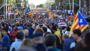 Manifestación independentistaen Barcelona, el día 11 de noviembre.