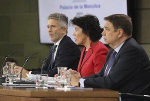 El ministro de Interior, Fernando Grande-Marlaska; la ministra de Educación y portavoz del Gobierno, Isabel Celaá; y el ministro de Agricultura, Luis Planas, durante la rueda de prensa del Consejo de Ministros.