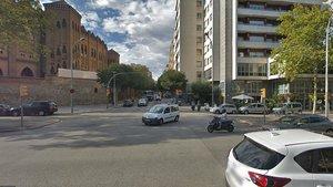 Cruce de la Gran Via y Lepant, en Barcelona, donde este miércolesse ha producido un atropello mortal de un hombre de 86 años.