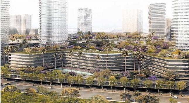 Cuatro imágenes de cómo quedaría BCN World si el plan urbanístico del Govern les permitiera esas dimensiones.