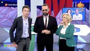 El no debate de Carmena y Errejón en 'Todo es mentira' con el resto de atriles vacíos