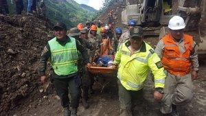 Autoridades de Bolivia en trabajos derescatepor el derrumbe en la carretera que une La Paz con la poblacion de Caranavi. EFEMinisterio De Defensa