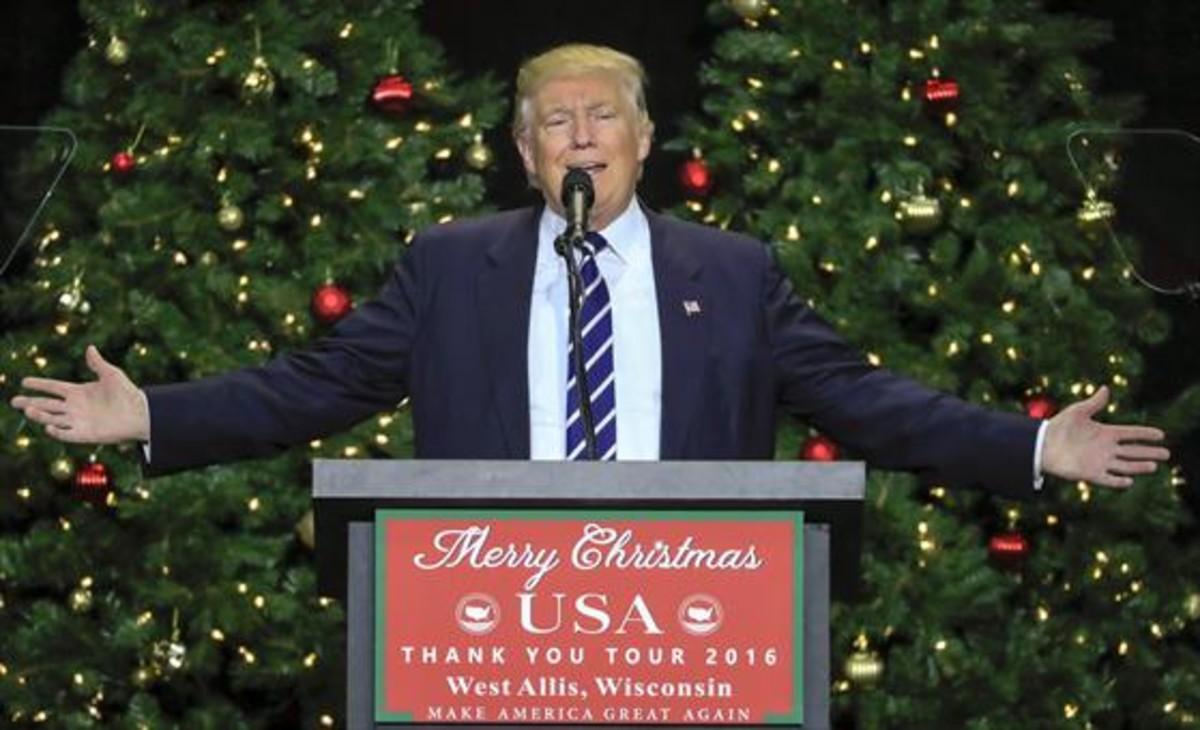 Donald Trump, en un mitin, el martes 13 de diceimbre de 2016,en West Allis (Wisconsin).
