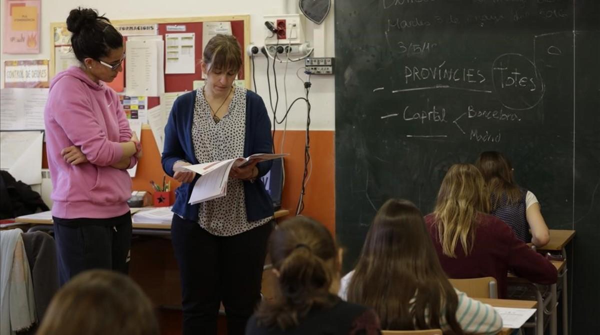 Pruebas de primaria en la escuela Pere IV de Barcelona.
