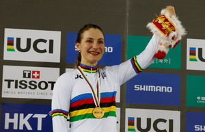 FILE PHOTO: Cycling - UCI Track World Championships - Womens Sprint, Final - Hong Kong, China - 14/4/17 - Germanys Kristina Vogel poses with gold medal and a toy. REUTERS/Bobby Yip/File Photo