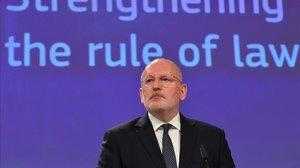 Frans Timmerman el pasado 3 de abril en Bruselas.