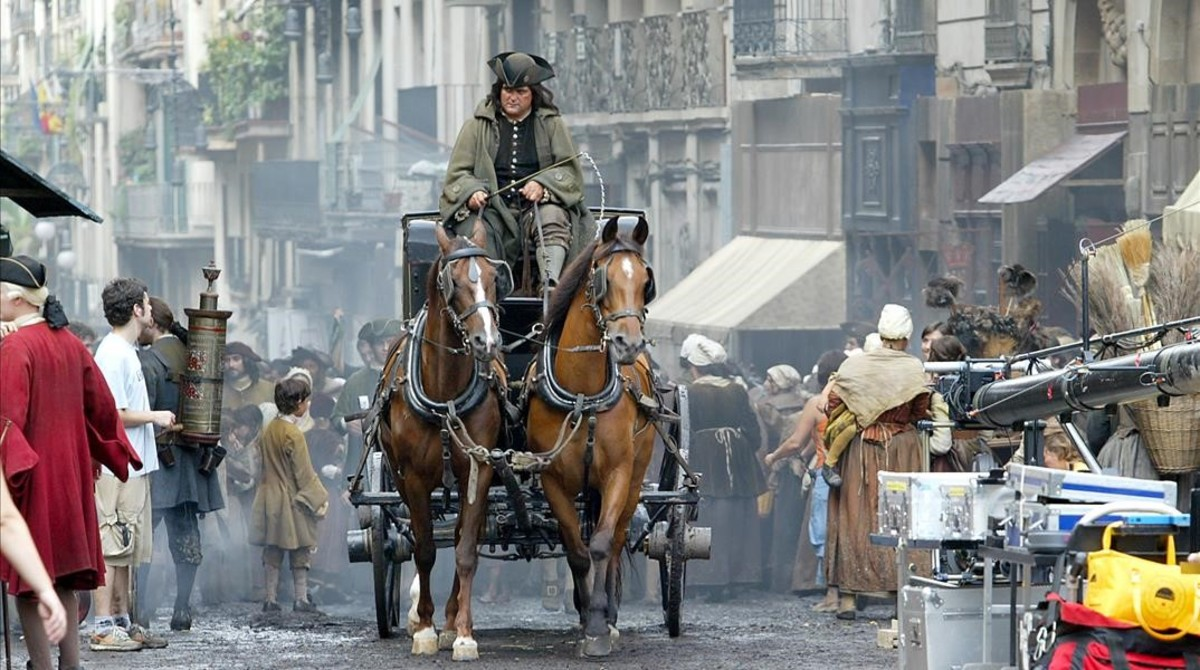 Rodaje de El Perfume, en la calle de Ferran.