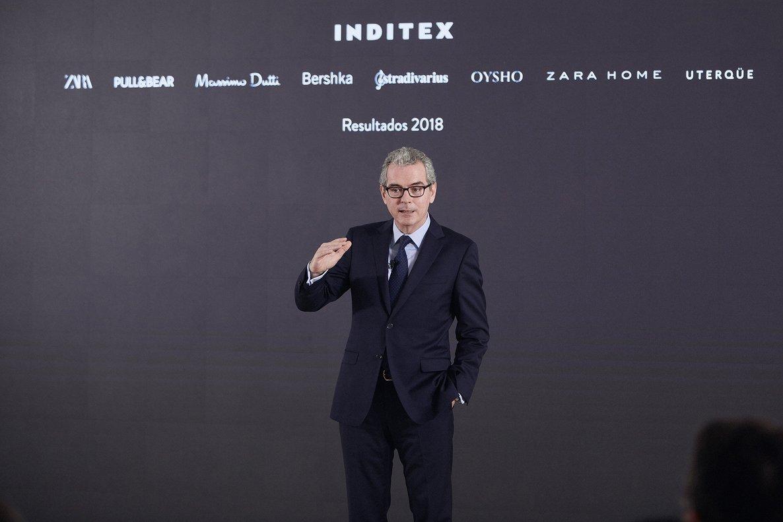 Pablo Isla, presidente de Inditex, durante la presentación de los resultados de 2018