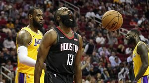 James Harden, en la victoria de los Houston Rockets sobre los Lakers.