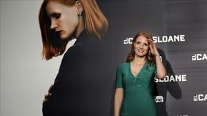 Jessica Chastain, hace dos semanas en Madrid, donde presentó 'El caso Sloane'.