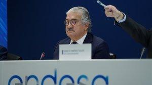 El consejero delegado de Endesa, José Bogas, en la presentación de los resultados del 2019