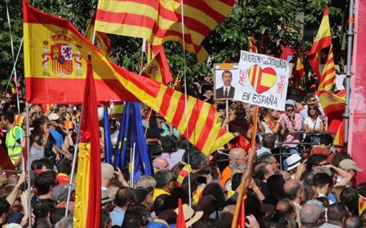 Manifestació a favor de la unitat d'Espanya a Barcelona, al setembre del 2017.