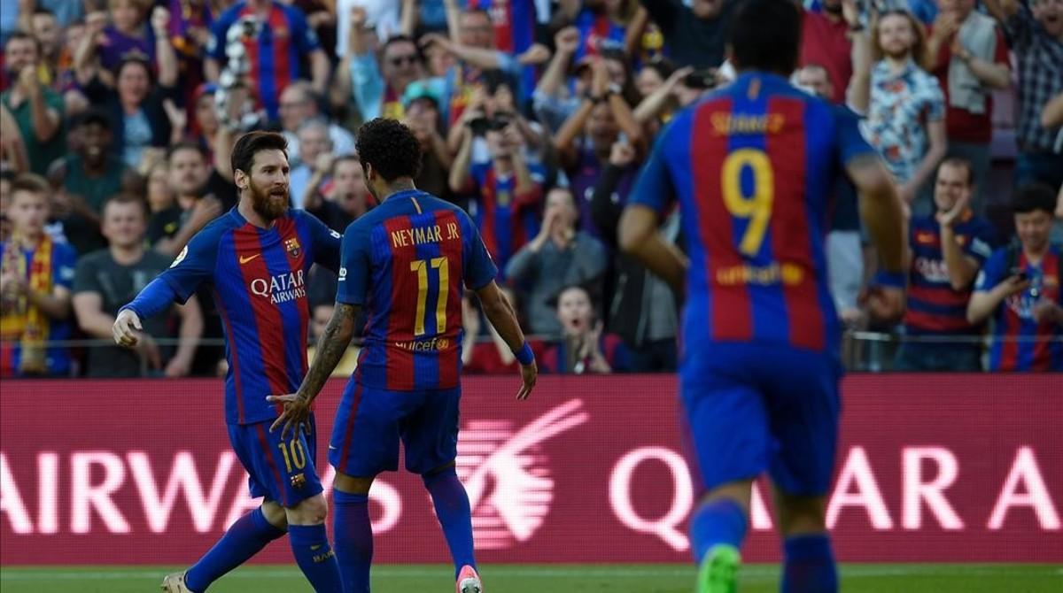 Messi, Neymar y Suárez, ante el Villarreal.