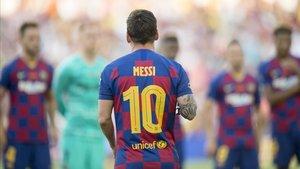 Messi, en el trofeo Joan Gamper en el Camp Nou.