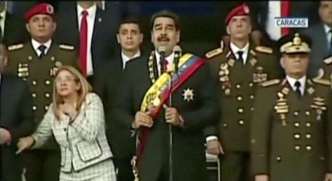 Momento del atentado contra Maduro, este domingo, en Caracas.