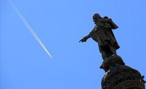 El monumento a Cristóbal Colón, en la Rambla de Barcelona.