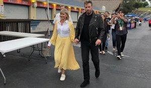 Olivia Newton-John y John Travolta, el viernes, en un evento sobre 'Grease' en Florida.