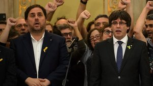 Oriol Junqueras y Carles Puigdemont, el 27 de octubre del 2017.