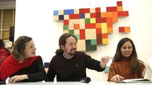 El Secretario General de Podemos, Pablo Iglesias, antes del inicio de la reunión 'Rumbo 2020'