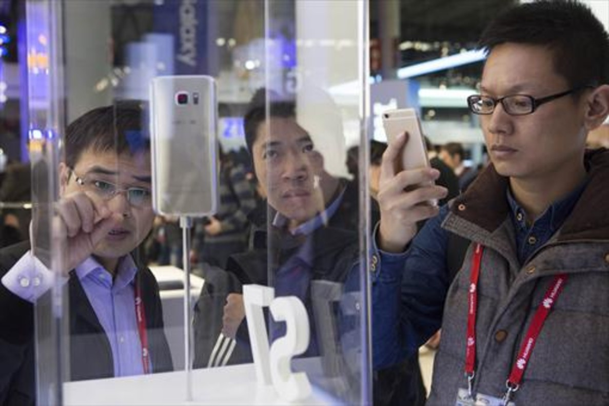 Participantes del Mobile World Congress, en febrero pasado.