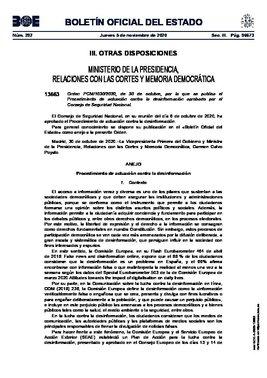 Orden por la que se publica en el BOE el procedimiento de actuación contra la desinformación aprobado por el Consejo de Seguridad Nacional.