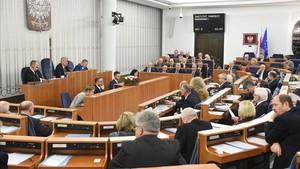 Los senadores en el momento de votar la plolémica ley.