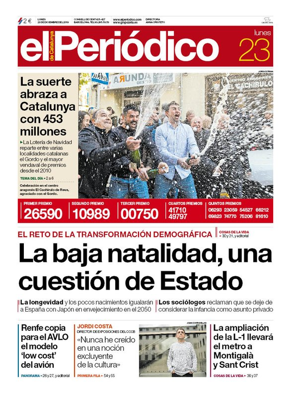 La portada de EL PERIÓDICO del 23 de diciembre del 2019.