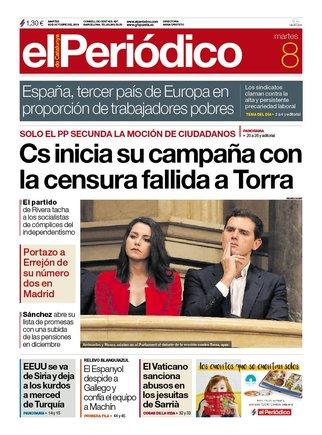 La portada de EL PERIÓDICO del 8 de octubre del 2019