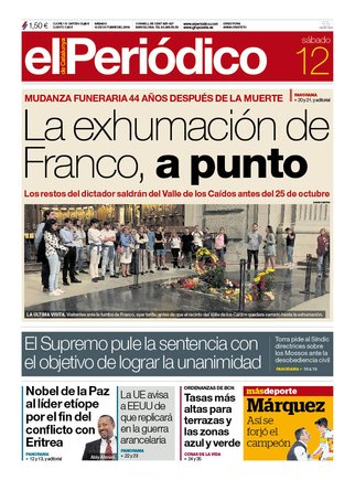 La portada de EL PERIÓDICO del 12 de octubre del 2019