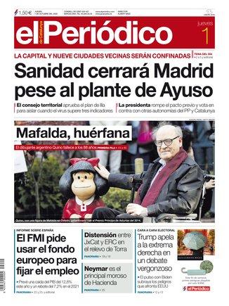 La portada de EL PERIÓDICO del 1 de octubre del 2020.