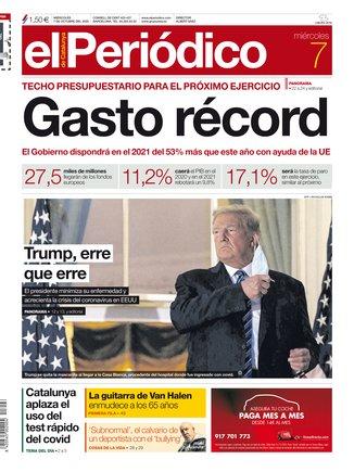 La portada de EL PERIÓDICO del 7 de octubre del 2020.