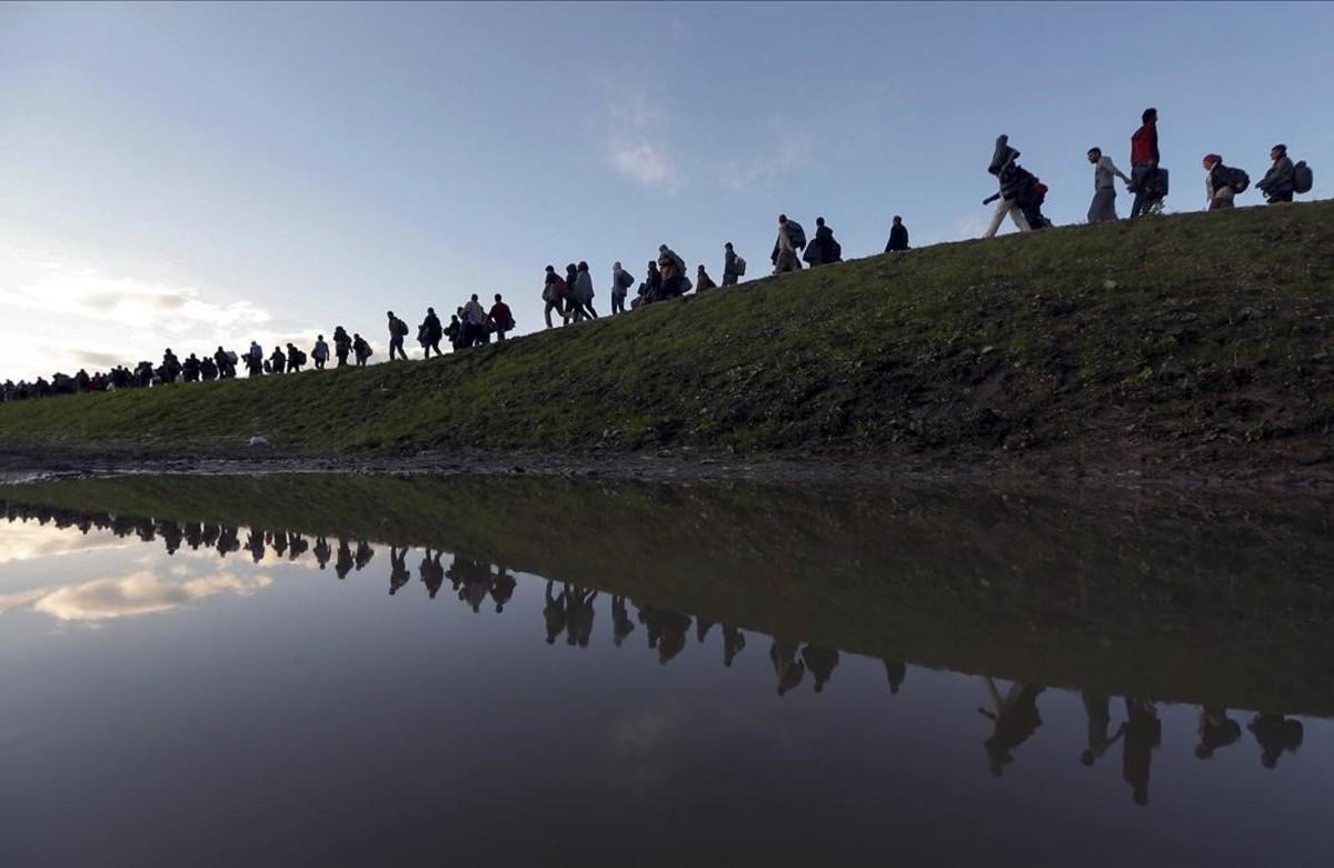 PREMIOS PULITZER Inmigrantescaminan en las afueras de Brezice, Eslovenia el 20 de octubre de el año 2015.