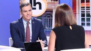 El presidente del Gobierno, Pedro Sánchez, durante la entrevista en 'La hora de La 1' de TVE, este 7 de septiembre.